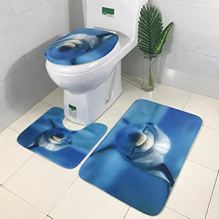 Demiawaking Bathroom Mats Sets 3 Pieces Non Slip Dolphin Print Soft Absorbent Bath Mat Pedestal Mat Toilet Seat Cover Mat