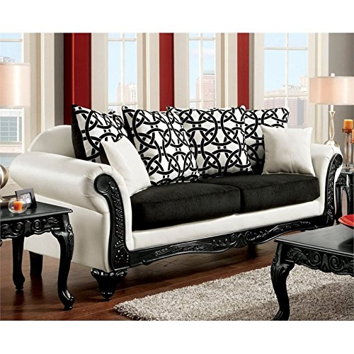 Furniture Of America Nausbem Sofa In Black And White Best Sofas Online Usa