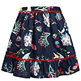 Benito & Benita Girls Skirt Swing Dresses Vintage A-Line Flare Skirts with Casual Floral Print Cotton Summer Dress