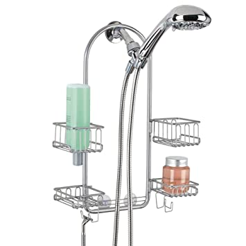 mdesign swing bathroom shower caddy for hand held hose with 4 baskets for shampoo conditioner