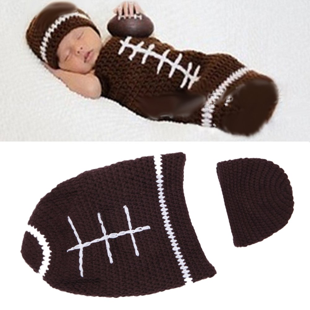 Ownmagi Crochet Photography Sweater Newborn Cap Football Suits Baby Sleeping Bag 5E1118