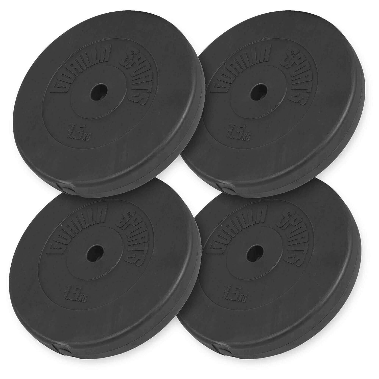 GORILLA SPORTS® - Juego de discos de pesas / acabado de plástico - Pesos de 1,25 a 15 kg con orificio de 30/31 mm, B: 30 KG (4 x 7,5 KG): Amazon.es: ...