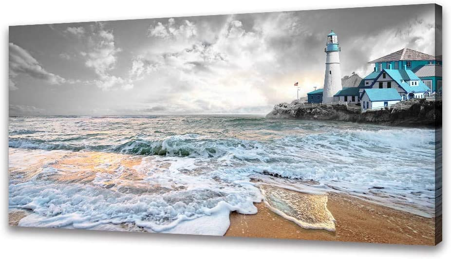 Canvas Wall Art for Bathroom - Black and White Wall Art Seascape Canvas Painting Nature Beach Pictures Prints Posters Blue Lighthouse Ocean Artwork for Bedroom Living Room Office Decor(20x40inx1)