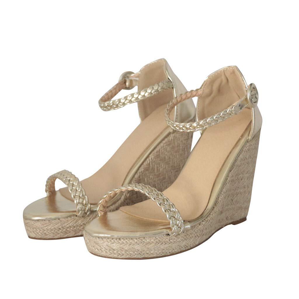 Summer Sandals, ❤️ FAPIZI Women Casual Open Toe Platform High Heels Solid Wedge Buckle Strap Sandals for Gifts Women Gold by FAPIZI Women Shoes (Image #2)