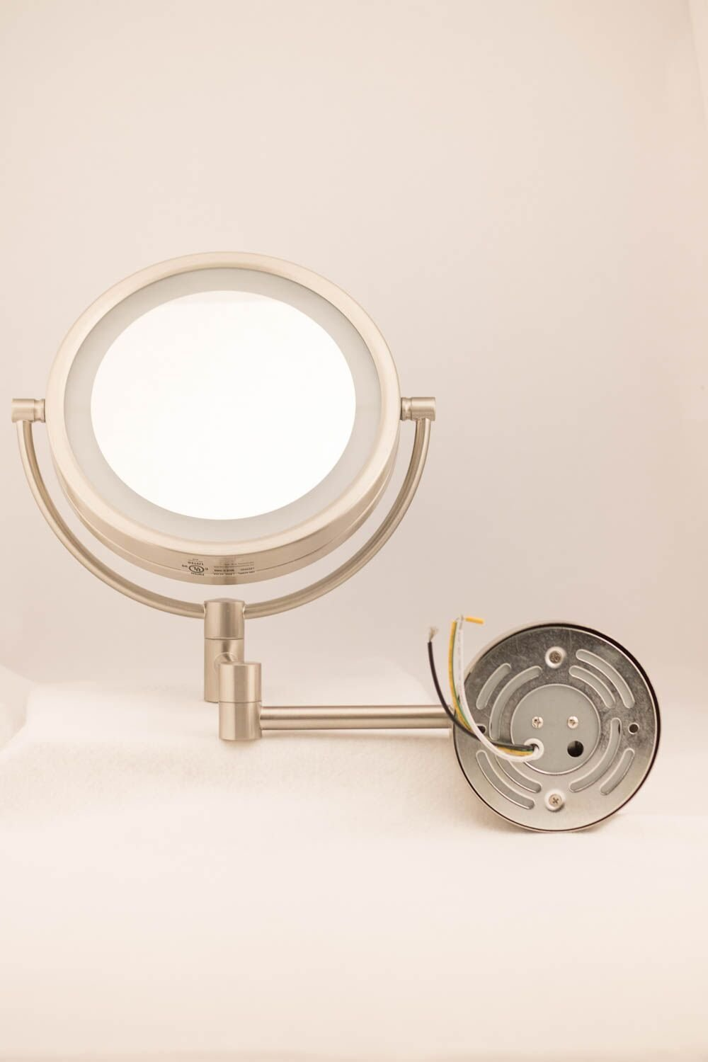 Nickel Finish Jerdon HL88NLD 8.5-Inch LED Lighted Direct Wire Direct Wire Makeup Mirror with 8x Magnification
