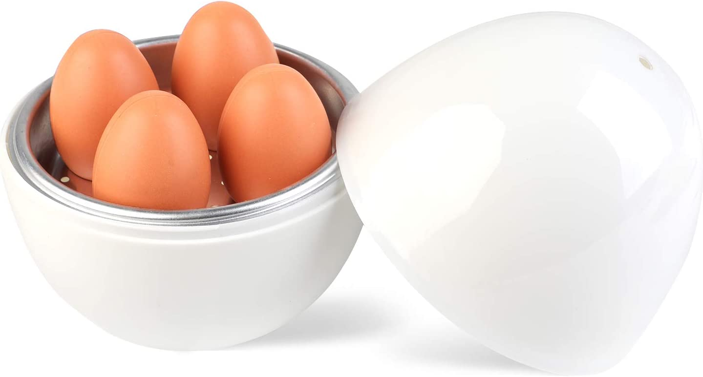 Coxeer Microwave Egg Cooker,Microwave Rapid 4 Eggs Boiler for Hard or Soft Boiled Eggs(White)