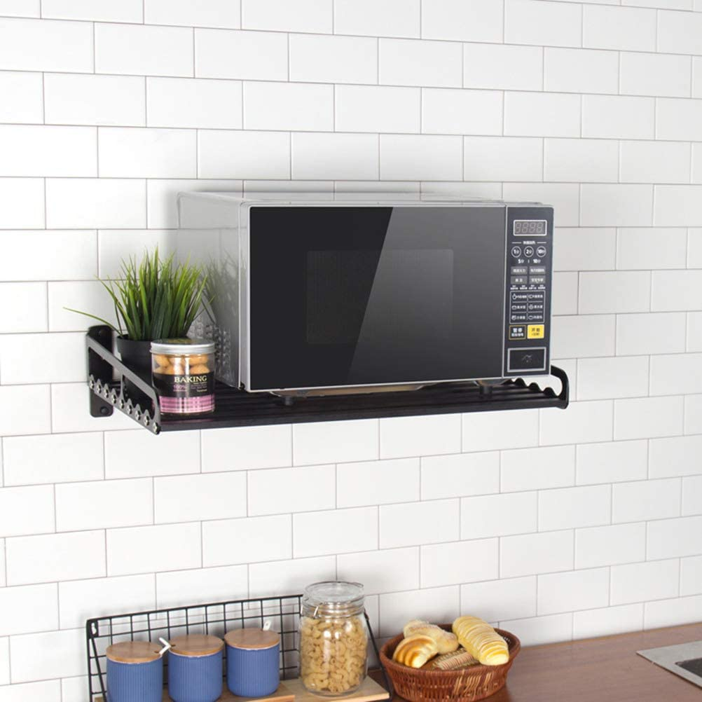 MaxxCloud Electric Oven Holders, Microwave Oven Rack Kitchen Shelf, Black Storage Racks Wall Shelf, Kitchen Organizer Aeronautical Aluminum, Weight Bearing 80 lb