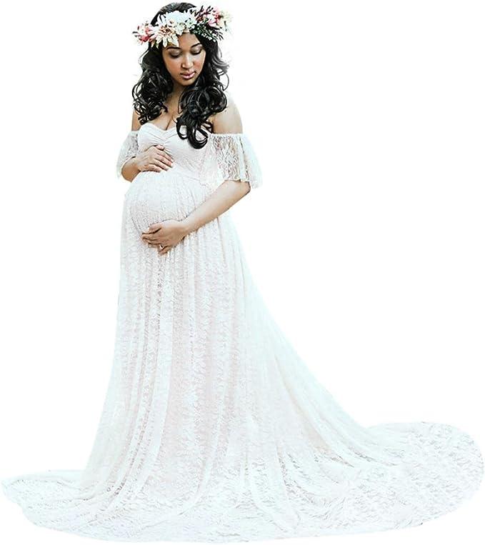 BBsmile Vestidos Vestidos Mujer Fiesta Largos Boda Vestido Embarazada Larga Vestido de Maternidad Faldas Fotográficas de Maternidad Apoyos De Fotografía Vestidos (Blanco, L): Amazon.es: Ropa y accesorios