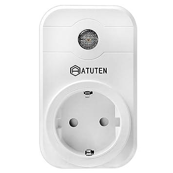 Atuten WiFi Enchufe Inteligente Inalámbrico Interruptor con Control Remoto y Temporizador para Smart Home Alexa Compatibles