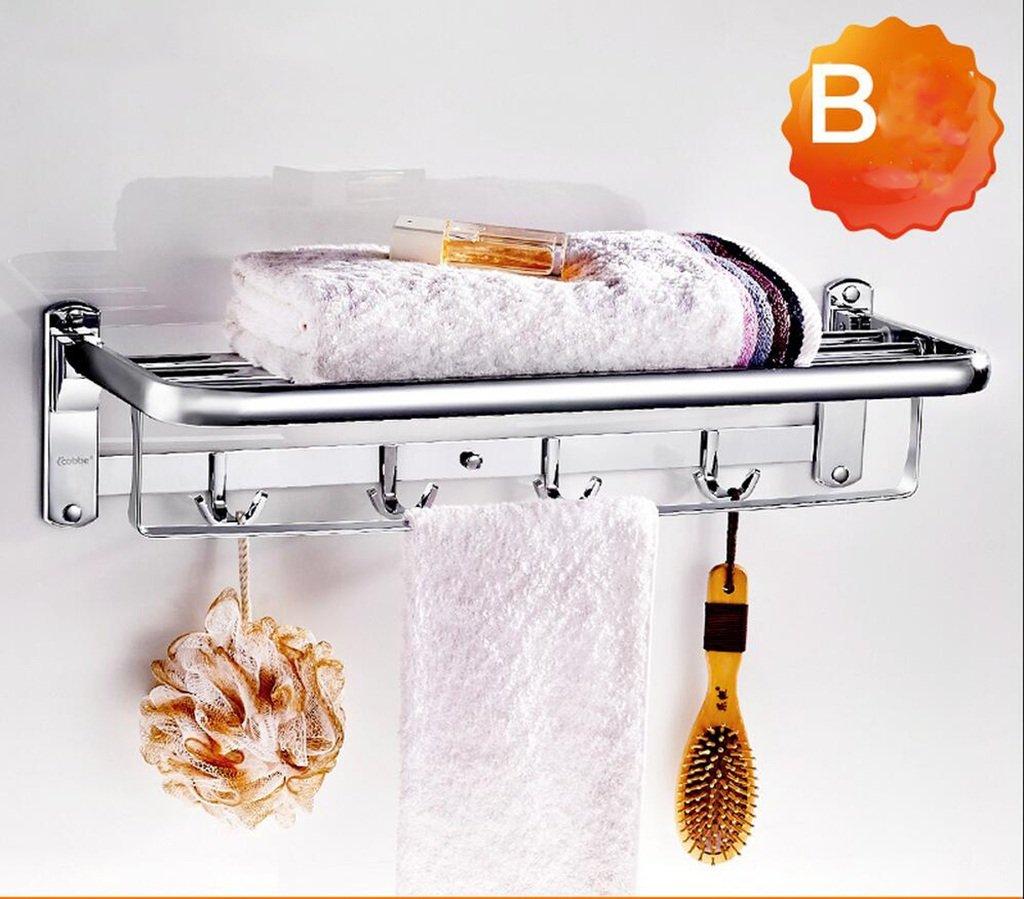 タオルバー ステンレススチールタオルラックバスルームタオルラック折り畳み浴室の浴室のハードウェアペンダントラック ( 色 : B ) B07CK3PRB6 B B