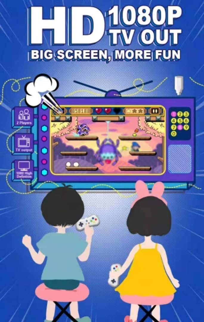 Old Arcade Classic Game Console, 638 Different Classic Games, HDMI , Two 2.4 GHZ Wireless contollers