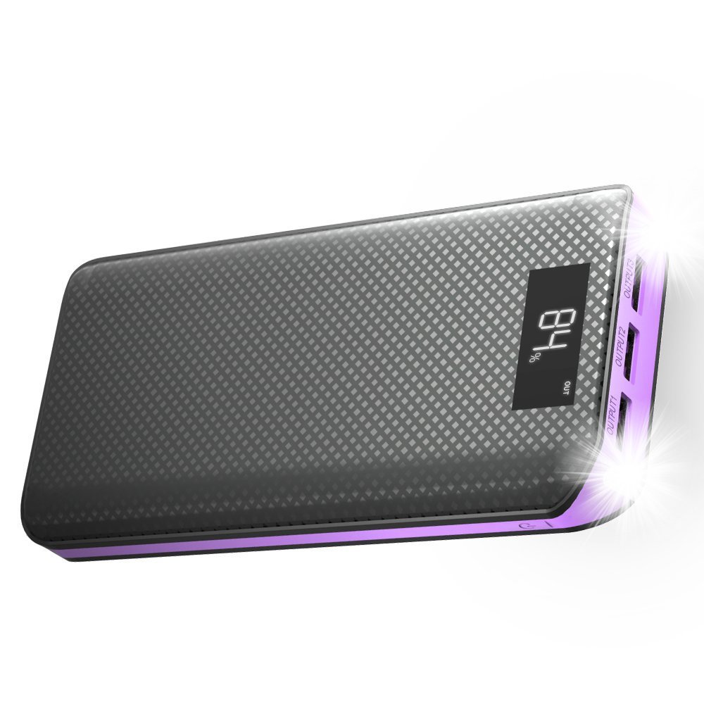 Power Bank, X-DRAGON 20000mAh Portable Charger 3-Port USB Output External Battery Charger Pack with LCD display for Phone8 X 7 6 6s , Samsung, Cell Phones, Tablet, ipad and More-Purple by X-DRAGON