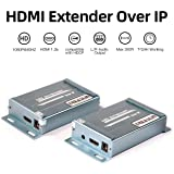HDMI Extender 1080P Over Cat5e Cat6 IP TCP Ethernet with 3.5mm Audio Output Up to 393FT Support 1 Sender to Many Receivers Over Switch Ideal for Engineering Project Usage Supports Sky HD Box Laptop