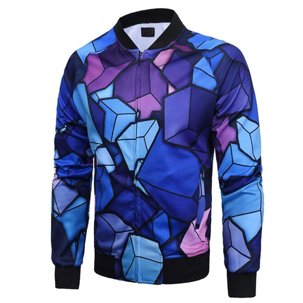 Sharemen Men's Casual Slim Fit Printed Outerwear Coat
