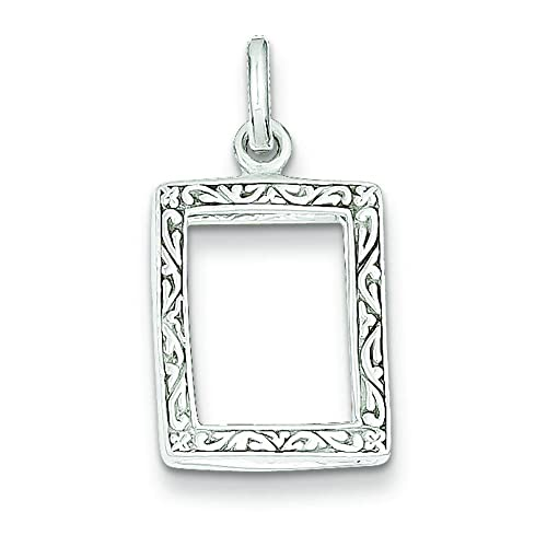 Amazon.com: Sterling Silver Picture Frame Charm Pendant Jewelry ...