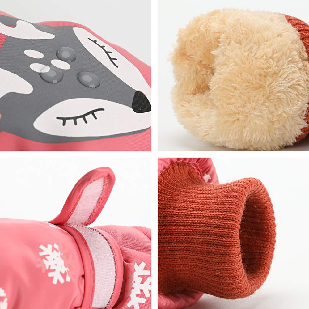 Kids Ski Mittens Waterproof Anti-slip Caseeto 6~12 Years Old Kids Winter Gloves Pink Style 2