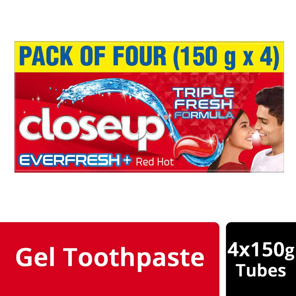 Closeup Everfresh+ Anti-Germ Gel Toothpaste Red Hot, 150 g (Pack of 4)