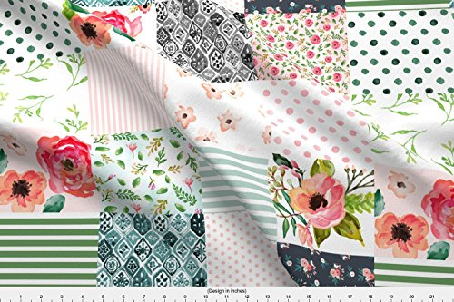 Spoonflower Cheater Quilt Fabric - Floral Dreams - Whole Cloth/Cheater Quilt by shopcabin - Cheater Quilt Fabric Printed on Kona Cotton Fabric by The Yard from Spoonflower