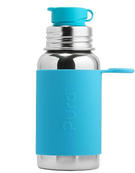 Pura Kiki Botella Sport - de acero inoxidable con silicona- 550ml-Color Turquesa