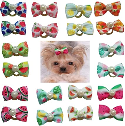 Yagopet 20pcs//pack Dog Hair Bows Rubber Bands Christmas Styles Dog Bows for Holidays Festival Rhinestone Pearls Dog Bows Pet Dog Grooming Bows Dog Hair Accessories