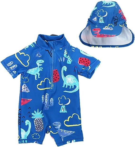 XmasPJS Baby Toddler Boys Beach Swimsuit One Piece Zipper Kids Bathing Suit Rash Guard Surfing Swimwear with Hat UPF 50+