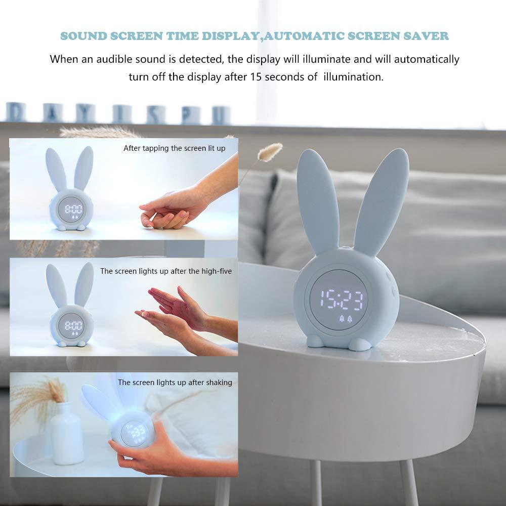 Blue Lanlan Ting Coniglio Orologio Digitale Sveglia Luce Notturna Cartone Animato Elettronica Still Clock Regali di Natale per Bambini