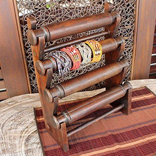 アクセサリースタンド 4段 ブレスレット 木製 ヘアアクセサリーなどの見せる収納・店舗什器に アジアンインテリア バリ雑貨
