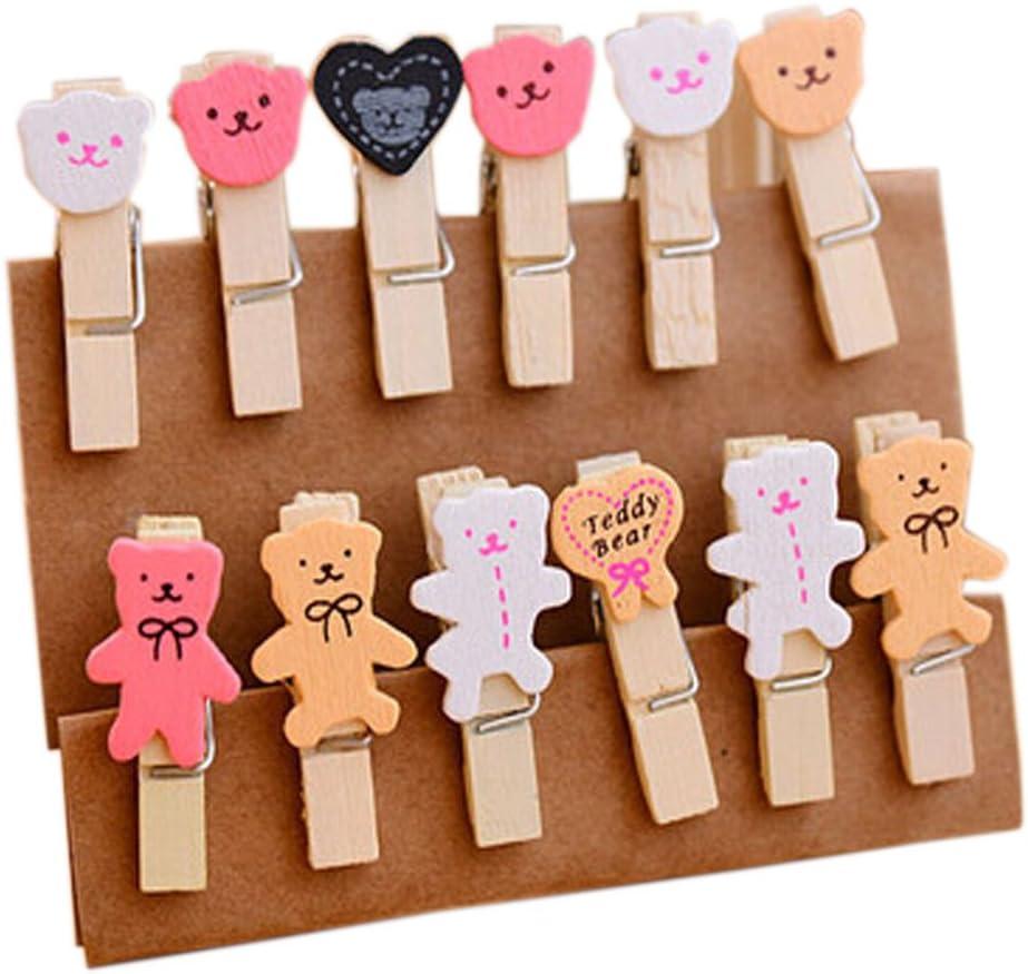 pinces /à photos DIY Pinces /à reliure en bois Zakka 2Pack 24Pcs S/érie dours mignons