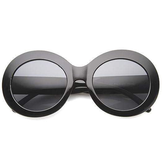 49324fec86 Oversize Chunky Frame Wide Temple Oval Round Sunglasses 55mm (Black Smoke)