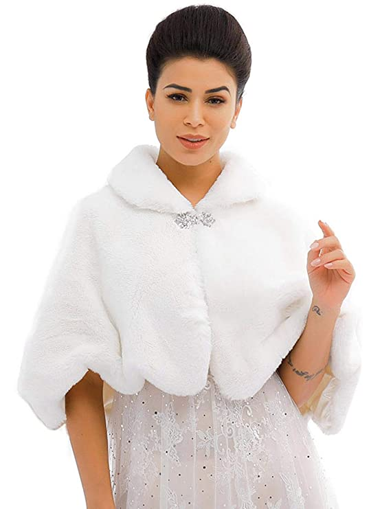Victorian Capelet, Cape, Cloak, Shawl, Muff Jakawin Women's Faux Rabbit Fur Wraps and Shawls Bride Wedding Fur Stole Bridal Fur Shrug for Women and Girls  AT vintagedancer.com