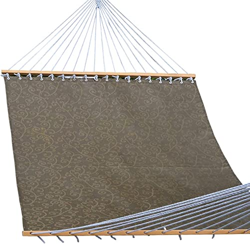 Lazy Daze Hammocks 55inch Quick-Dry Hammock with Textliene Fabric and Hardwood Spreader Bar for Poolside Outdoor, Coffee