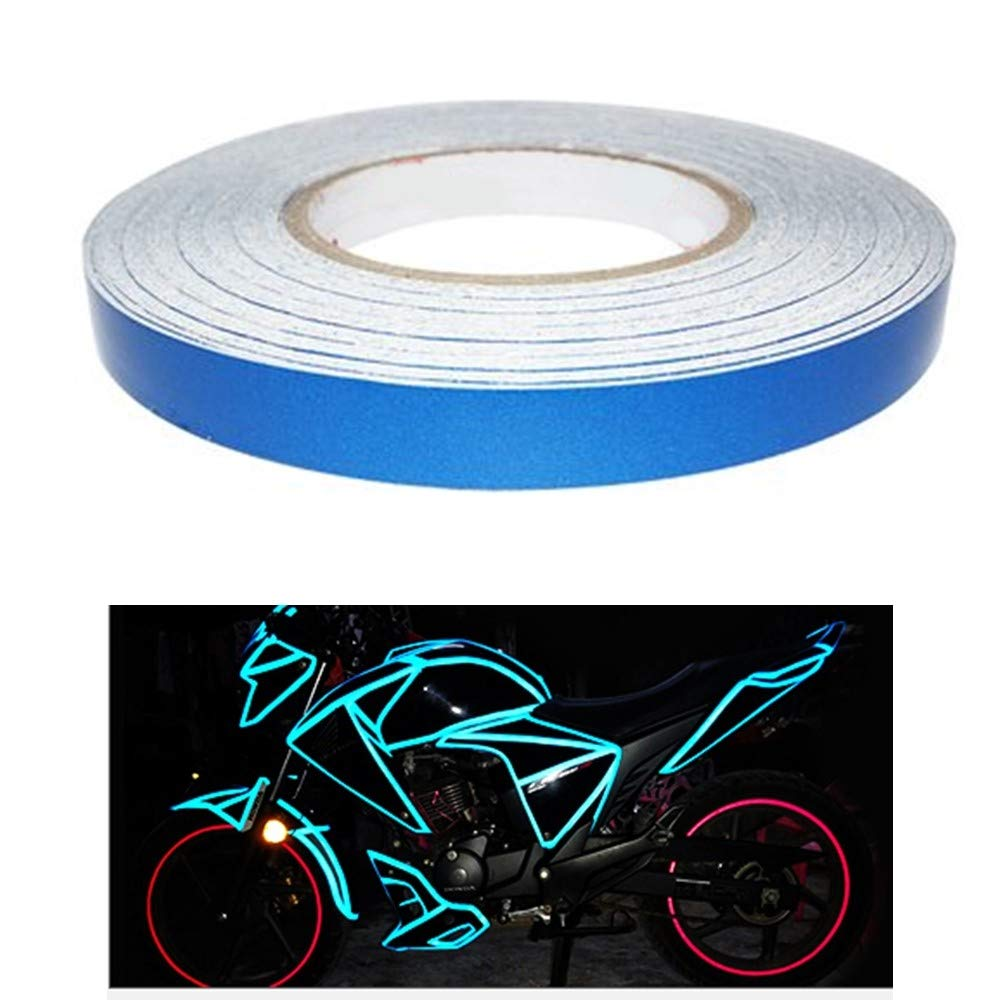 Reflective Tape Caution Warning Safety Reflector Sticker Fluorescent Waterproof Reflective Decals Roll for Automobile Car Pickup Truck SUV RV Boat Motorbike Helmet (Blue, 0.4 inches x 45 meters) COSMOSS