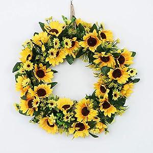 18inch Artificial Sunflower Wreath Flower Door Decoration Indoor Outdoor Wall for Party Kitchen Home Decor