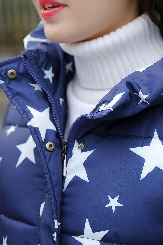 Allbebe Women's Warm Printed Hooded Down Coat Long Padded Jacket