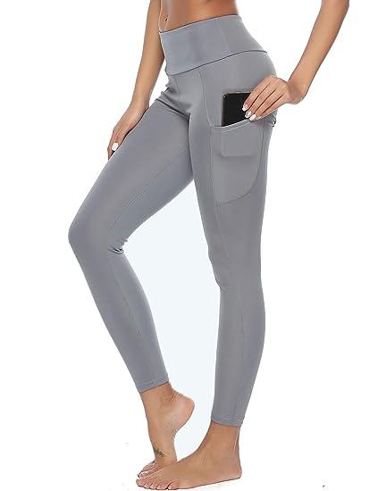Pantalon de Sport Yoga Legging Femme avec Poches Fitness Gym Taille Haute  Gaine Large f8be6e70034