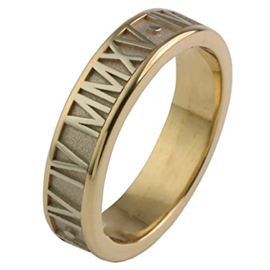 788d602ca Amazon.com: Solid 14K Gold 6MM Roman Numeral Ring: Jewelry