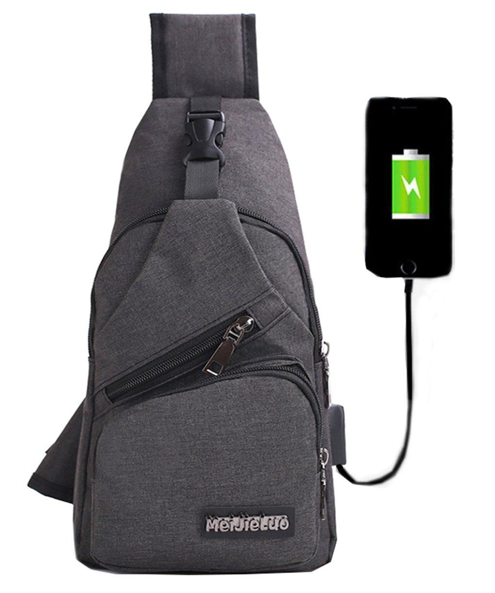 Mochila bandolera de pecho LemonGirl con cargador USB para hombres y mujeres, para senderismo, acampadas, ciclismo, hombre, XW210-Black, negro, talla única