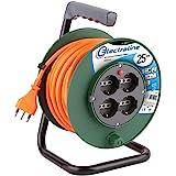 Electraline 49018 Prolunga Elettrica 25 mt con Avvolgicavo 4 Prese Polivalenti (Schuko + 10/16A) Spina Grande 16A, con Protezione - Sezione Cavo 3G1 mm²
