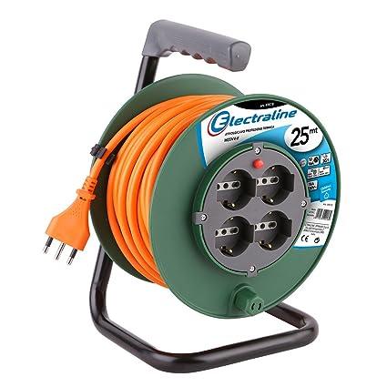 cedf232e3d Electraline 49108 Prolunga Elettrica 25 mt con Avvolgicavo 4 Prese  Polivalenti (Schuko + 10/