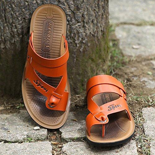 ZHANGJIA Neue Männer Sandalen, Badeschuhe, Hausschuhe, Schuhe, Koreanisch, Casual Wear, 43, Farbe Orange
