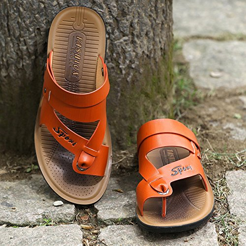 ZHANGJIA Neue Männer Sandalen, Badeschuhe, Hausschuhe, Hausschuhe, Hausschuhe, Schuhe, Koreanisch, Casual Wear, 38, Farbe Orange 4aa923