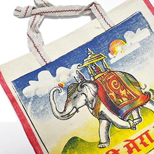 Fantastik–Borsa della spesa, molto capiente, con motivo: elefante, stile indiano