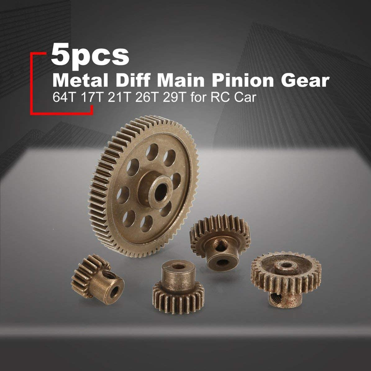 Bronze Sunnyflowk 5pcs Metal Diff Diff/érentiel Pignon Principal 5MM 64T Moteur Pignons 3.17MM 17T 21T 26T 29T pour Hsp Redca Traxxas 11164 RC Car