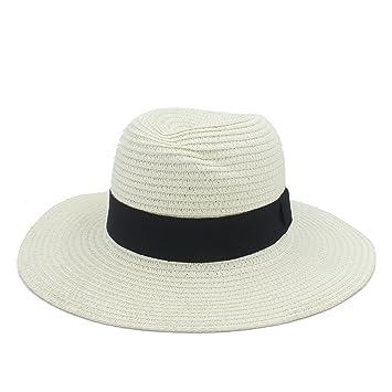 YINUO Gorras Moda Verano Elegante Grande ala Ancha panamá Sombrero Reina  Fedora Sombrero Beach Cap con Bowknot (Color   Crema d0ada28f190