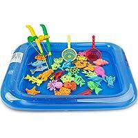 ZIYUMI Fishing Magnetic Toys Floating Fishing Game Kids Bath Toys Inflatable Swimming Pool Bathtub Toy Set for Early Education 26PCS/Set