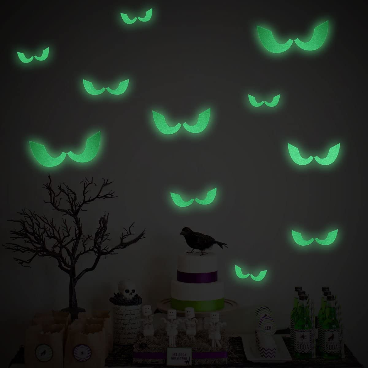 Halloween Wall Window Decorations Glow in The Dark Stickers Evil Eyes 23 Pcs with 5 Sizes