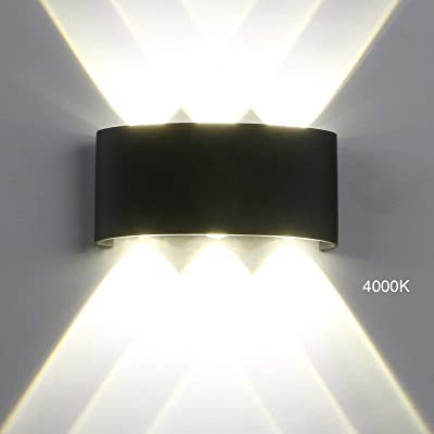 Modern LED IP65 Waterproof Exterior Wall Lamp, Yosoan 6W 86V-265V Sconce White 4000K Aluminum Indoor Outdoor Surface Mount Rainsafe Matte Black Wall Fixture Up Down Porch Staircase Hallway Garage