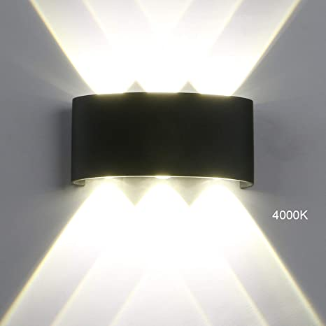 Pathson Modern Outdoor Wall Light 8 Leds Hallway Porch Wall Sconce Up Down Wall Lamp Indoor Matte Black Wall Mount Light Fixture 4000k White Light