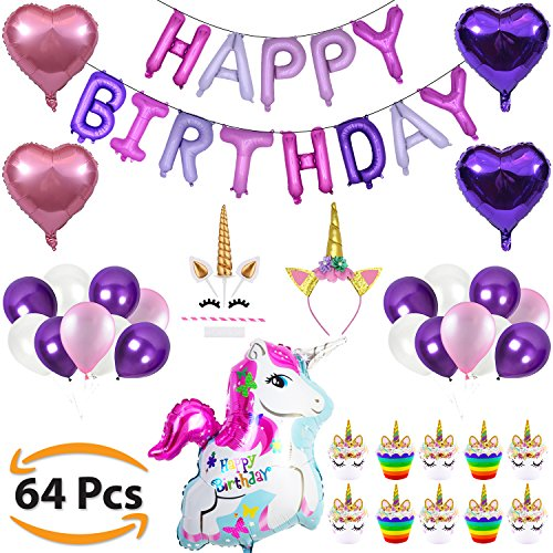 Unicorn Party Supplies & Decorations for Girls - 64pcs Unicorn Themed for Kids - Happy Birthday Balloon Banner, Latex Balloons, Glitter Headband for Girl, Cake Topper & Cupcake Wrapper Set (Fairytale Themed Costume Ideas)
