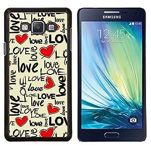 """Be-Star Único Patrón Plástico Duro Fundas Cover Cubre Hard Case Cover Para Samsung Galaxy A7 / SM-A700 ( Amor del texto del corazón de San Valentín beige miel"""" )"""